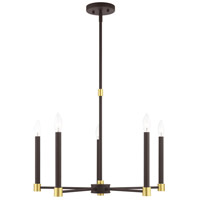 Livex Lighting 46885-07 Karlstad 5 Light 24 inch Bronze with Satin Brass Accents Chandelier Ceiling Light