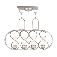Livex 47195-91 Westfield 4 Light 30 inch Brushed Nickel Island Light Ceiling Light