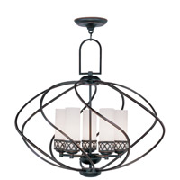 Livex 4725-67 Westfield 5 Light 26 inch Olde Bronze Chandelier Ceiling Light in Hand Blown Satin White