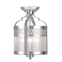 Livex 4733-91 Westfield 3 Light 10 inch Brushed Nickel Pendant/Ceiling Mount Ceiling Light