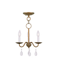 Mercer 3 Light 12 inch Antique Gold Leaf Mini Chandelier Ceiling Light