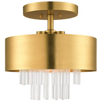 Livex 48872-08 Orenburg 3 Light 13 inch Natural Brass Semi Flush Ceiling Light