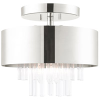 Livex 48872-35 Orenburg 3 Light 13 inch Polished Nickel Semi Flush Ceiling Light