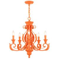 Livex Lighting 49065-77 Valencia 5 Light 25 inch Shiny Orange Chandelier Ceiling Light