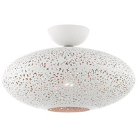 Livex Lighting 49183-03 Charlton 1 Light 16 inch White with Brushed Nickel Accents Semi Flush Ceiling Light