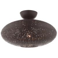 Livex Lighting 49183-07 Charlton 1 Light 16 inch Bronze with Antique Brass Accents Semi Flush Ceiling Light