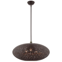 Livex 49186-07 Charlton 3 Light 24 inch Black with Antique Brass Accents Pendant Ceiling Light