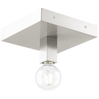 Livex 49210-91 Solna 1 Light 9 inch Brushed Nickel Flush Mount Ceiling Light photo thumbnail