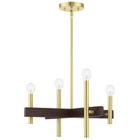 Livex 49344-12 Denmark 4 Light 20 inch Satin Brass Chandelier Ceiling Light