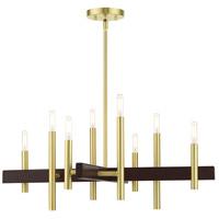 Livex 49348-12 Denmark 8 Light 28 inch Satin Brass Chandelier Ceiling Light