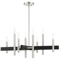Livex 49348-91 Denmark 8 Light 28 inch Brushed Nickel Chandelier Ceiling Light