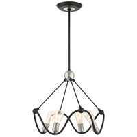Livex Lighting 49733-14 Archer 4 Light 22 inch Textured Black with Brushed Nickel Accents Chandelier Ceiling Light