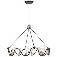 Livex Lighting 49736-14 Archer 8 Light 36 inch Textured Black with Brushed Nickel Accents Chandelier Ceiling Light