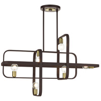 Livex Lighting 49748-07 Bergamo 6 Light 42 inch Bronze with Antique Brass Accents Linear Chandelier Ceiling Light