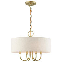 Livex 49804-01 Blossom 4 Light 18 inch Antique Brass Pendant Chandelier Ceiling Light