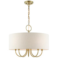 Livex 49805-01 Blossom 5 Light 22 inch Antique Brass Pendant Chandelier Ceiling Light