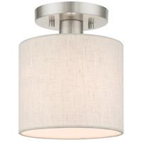 Livex 49807-91 Meadow 1 Light 7 inch Brushed Nickel Semi Flush Ceiling Light