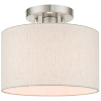 Livex 49808-91 Meadow 1 Light 10 inch Brushed Nickel Semi Flush Ceiling Light
