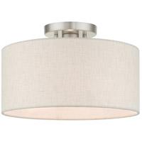 Livex 49809-91 Meadow 1 Light 13 inch Brushed Nickel Semi Flush Ceiling Light