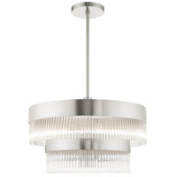 Livex 49825-91 Nowrich 7 Light 24 inch Brushed Nickel Chandelier Ceiling Light