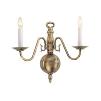 Livex Lighting Williamsburg 2 Light Wall Sconce in Antique Brass 5002-01