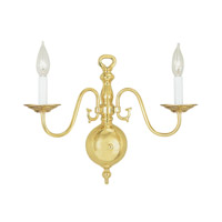 Livex 5002-02 Williamsburgh 2 Light 13 inch Polished Brass Wall Sconce Wall Light