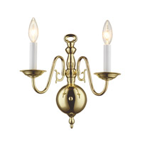 Williamsburgh 2 Light 13 inch Polished Brass Wall Sconce Wall Light