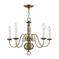 Williamsburgh 5 Light 24 inch Antique Brass Chandelier Ceiling Light