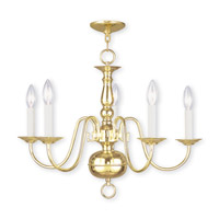 Williamsburgh 5 Light 24 inch Polished Brass Chandelier Ceiling Light
