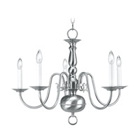 Livex 5005-91 Williamsburgh 5 Light 24 inch Brushed Nickel Chandelier Ceiling Light