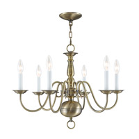 Williamsburgh 6 Light 24 inch Antique Brass Chandelier Ceiling Light