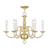 Williamsburgh 6 Light 24 inch Polished Brass Chandelier Ceiling Light