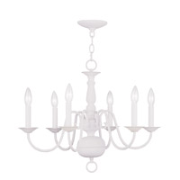 Williamsburgh 6 Light 24 inch White Chandelier Ceiling Light
