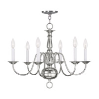 Livex Lighting Williamsburg 6 Light Chandelier in Polished Nickel 5006-35