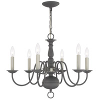 Livex Lighting 5006-76 Williamsburgh 6 Light 24 inch Scandinavian Gray Chandelier Ceiling Light