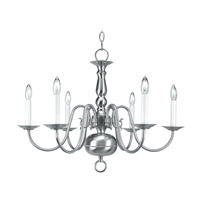 Livex Lighting Williamsburg 6 Light Chandelier in Brushed Nickel 5006-91