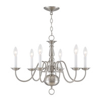 Livex 5006-91 Williamsburgh 6 Light 24 inch Brushed Nickel Chandelier Ceiling Light