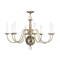 Williamsburgh 8 Light 32 inch Antique Brass Chandelier Ceiling Light