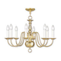 Livex Lighting Williamsburg 8 Light Chandelier in Polished Brass 5008-02