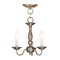 Livex Lighting Williamsburg 3 Light Pendant/Ceiling Mount in Antique Brass 5009-01