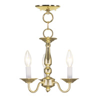 Livex 5009-02 Williamsburgh 3 Light 11 inch Polished Brass Pendant/Ceiling Mount Ceiling Light