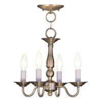 Livex Lighting Williamsburg 4 Light Pendant/Ceiling Mount in Antique Brass 5010-01