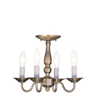 Livex Lighting Williamsburg 4 Light Pendant/Ceiling Mount in Antique Brass 5010-01 alternative photo thumbnail