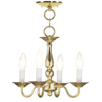 Livex Lighting Williamsburg 4 Light Pendant/Ceiling Mount in Polished Brass 5010-02