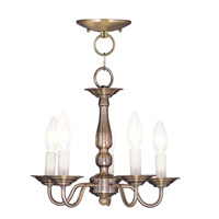 Livex Lighting Williamsburgh 5 Light Pendant/Ceiling Mount in Antique Brass 5011-01