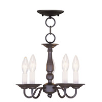 Livex Lighting Williamsburg 5 Light Pendant/Ceiling Mount in Bronze 5011-07