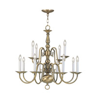 Livex 5012-01 Williamsburgh 12 Light 26 inch Antique Brass Chandelier Ceiling Light