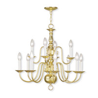 Livex 5012-02 Williamsburgh 12 Light 26 inch Polished Brass Chandelier Ceiling Light