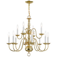Williamsburgh 12 Light 26 inch Polished Brass Chandelier Ceiling Light