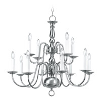 Livex Lighting Williamsburg 12 Light Chandelier in Brushed Nickel 5012-91